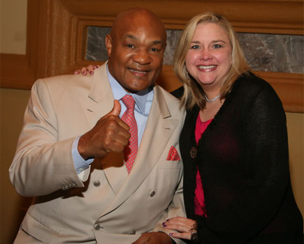 Becky with George Foreman, 2X World Heavyweight Boxing Champion